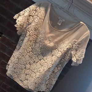 Lace/poly blouse